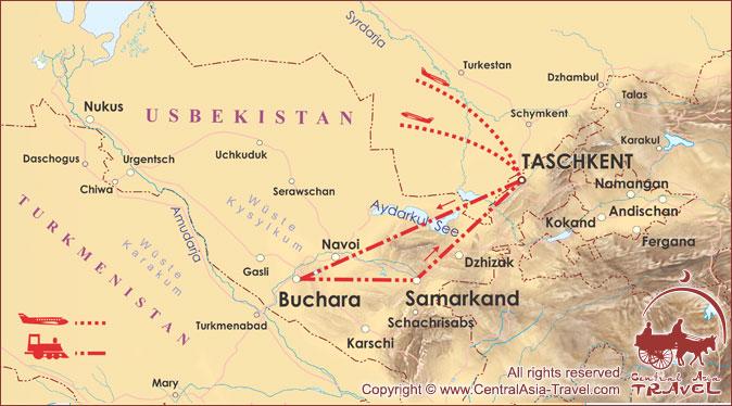 Karte der Route