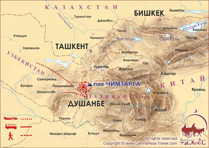 Карта маршрута «В сердце Фанских гор»