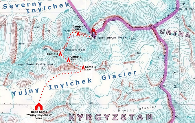 Carte de l'ascension du pic Khan-Tengri