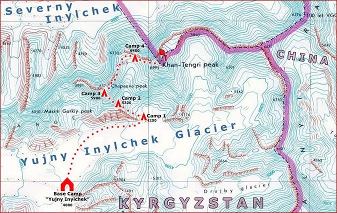 Mapa del ascenso al Pico Khan-Tengri