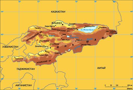 Карта Кыргызстана