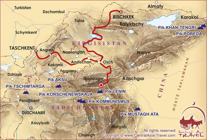 Karte der Einreise ins Basislager am Fuß des Pik Lenin