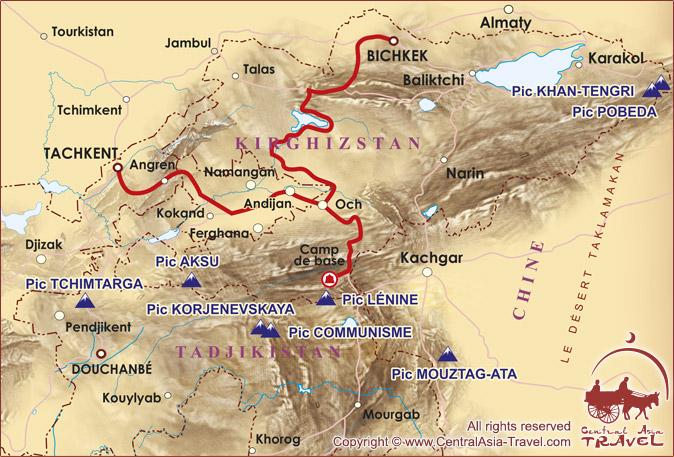 Carte du parcours a faire afin de regagner le Camp de Base sous le pic Lenine