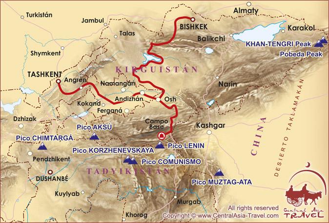 Mapa de llegada al Campo Base bajo el Pico Lenin