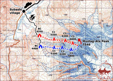 Map of expedition to Muztag-Ata Peak