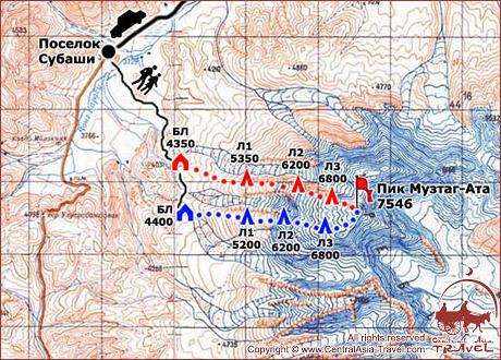 Карта восхождения на Пик Музтаг-Ата