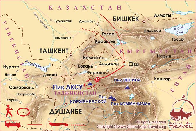 Карта маршрута «Путешествие к Пикам Сабах и Аксу»