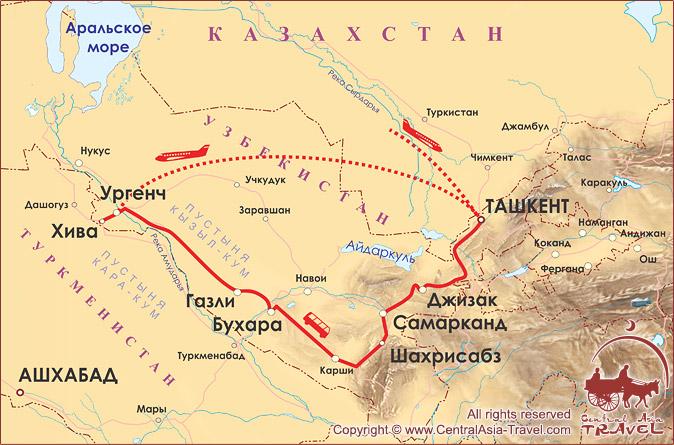 Карта маршрута «Дынный Узбекистан»