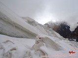 Icefall between the first and the second camp. Lenin peak, Pamir, Kyrgyzstan