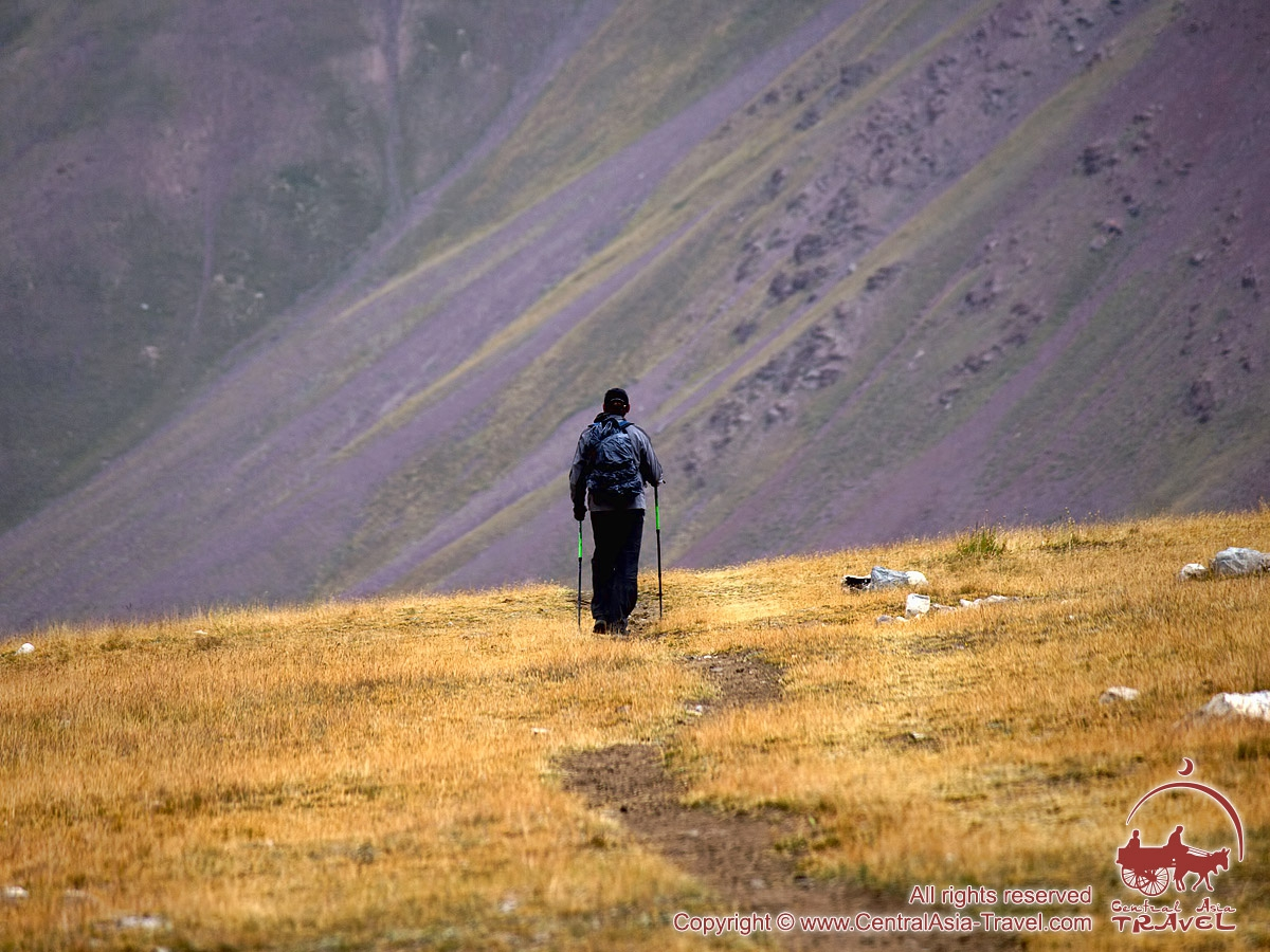 Going to the first camp (4400m). Lenin peak, Pamir, Kyrgyzstan