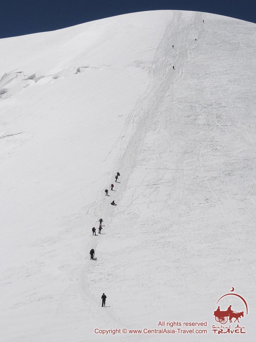 Подъем в третий лагерь (6100м). Пик Ленина, Памир, Кыргызстан