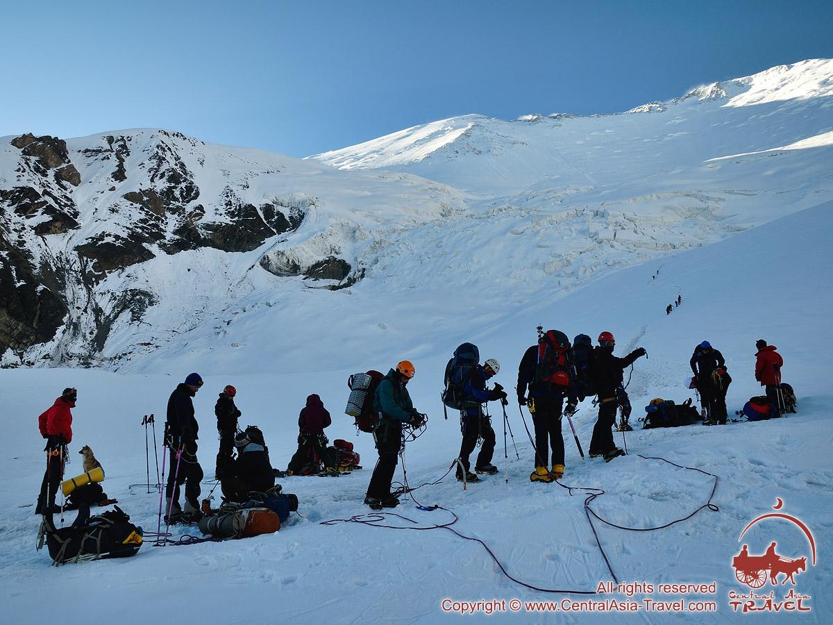 Going into the Camp 2. Lenin peak, Pamir, Kyrgyzstan