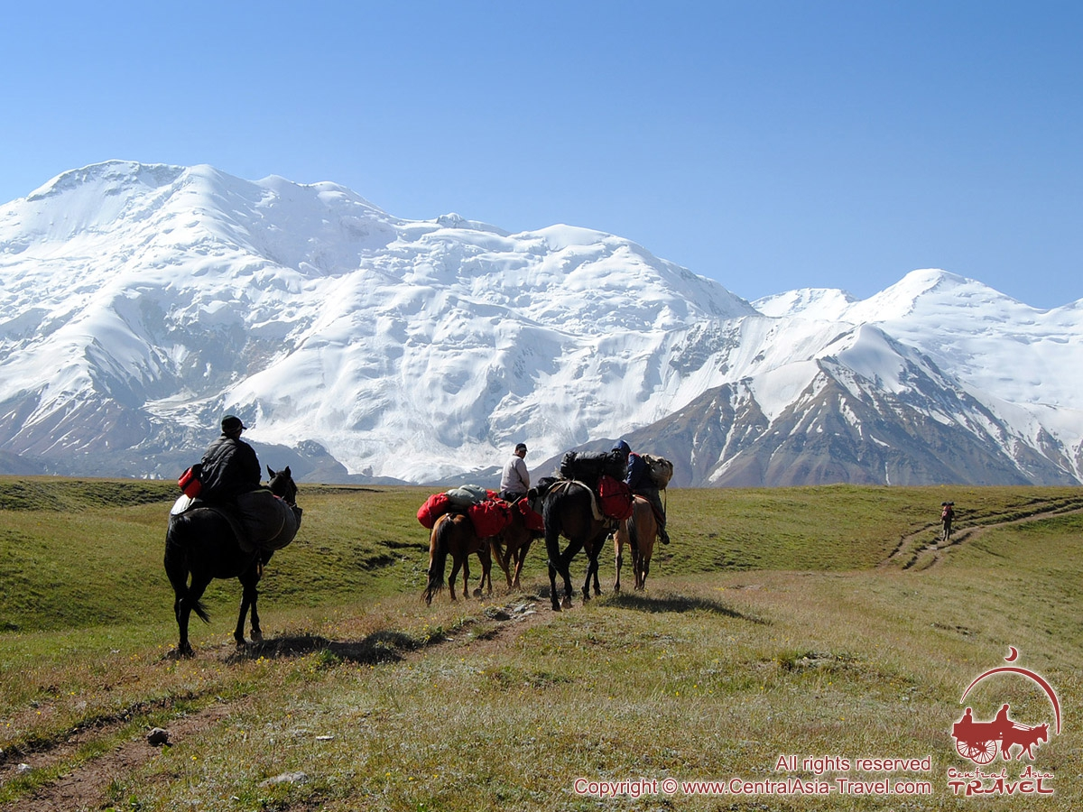 Transportation of goods from the Base Camp to the Camp 1. Lenin peak, Pamir, Kyrgyzstan