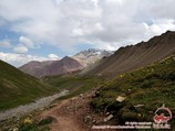 On the way to the Travelers pass (4150 m). Lenin peak, Pamir, Kyrgyzstan