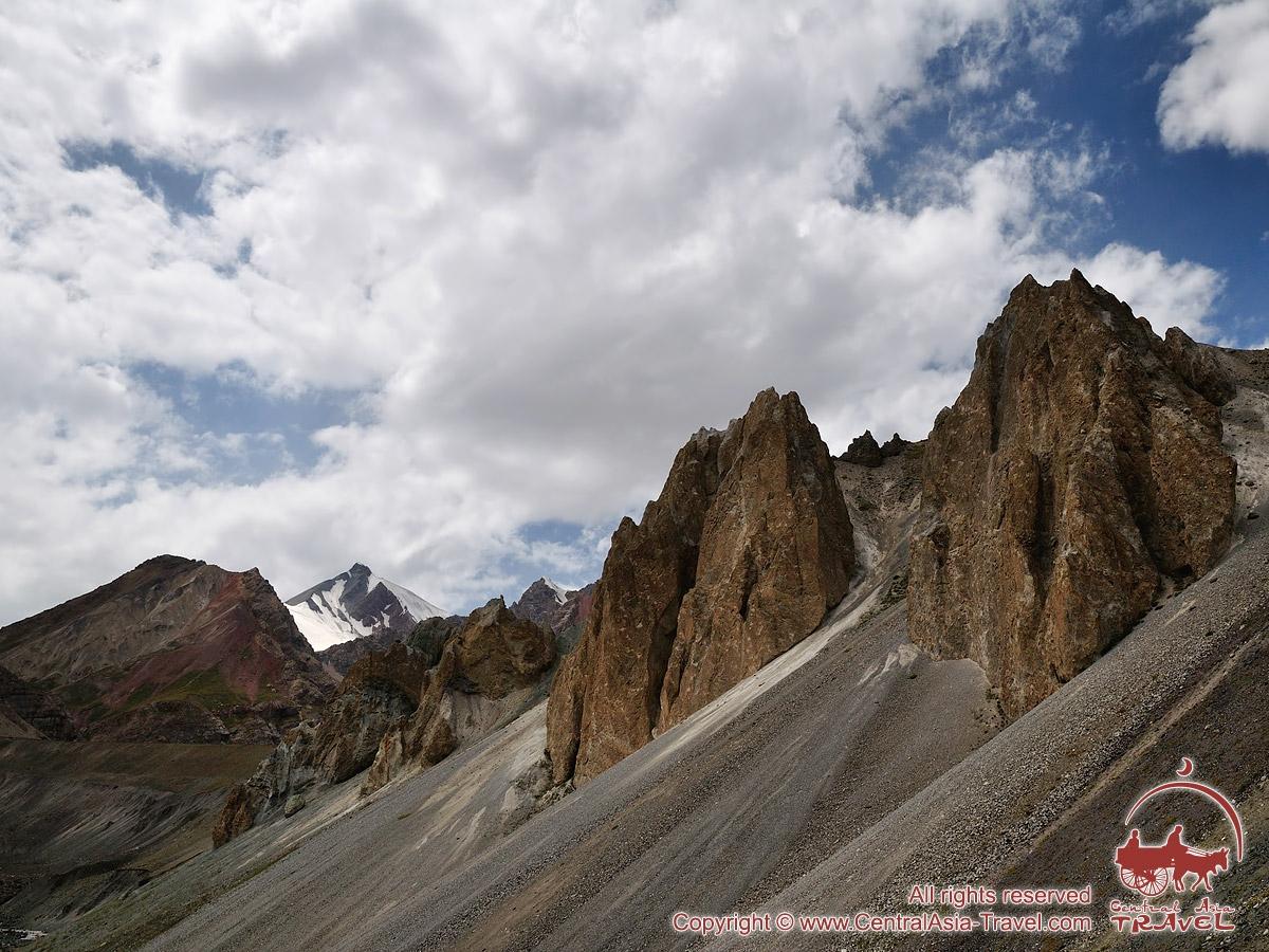 Rocas sobre el Calvero de Cebolla. Pico Lenin, Pamir, Kirguistán