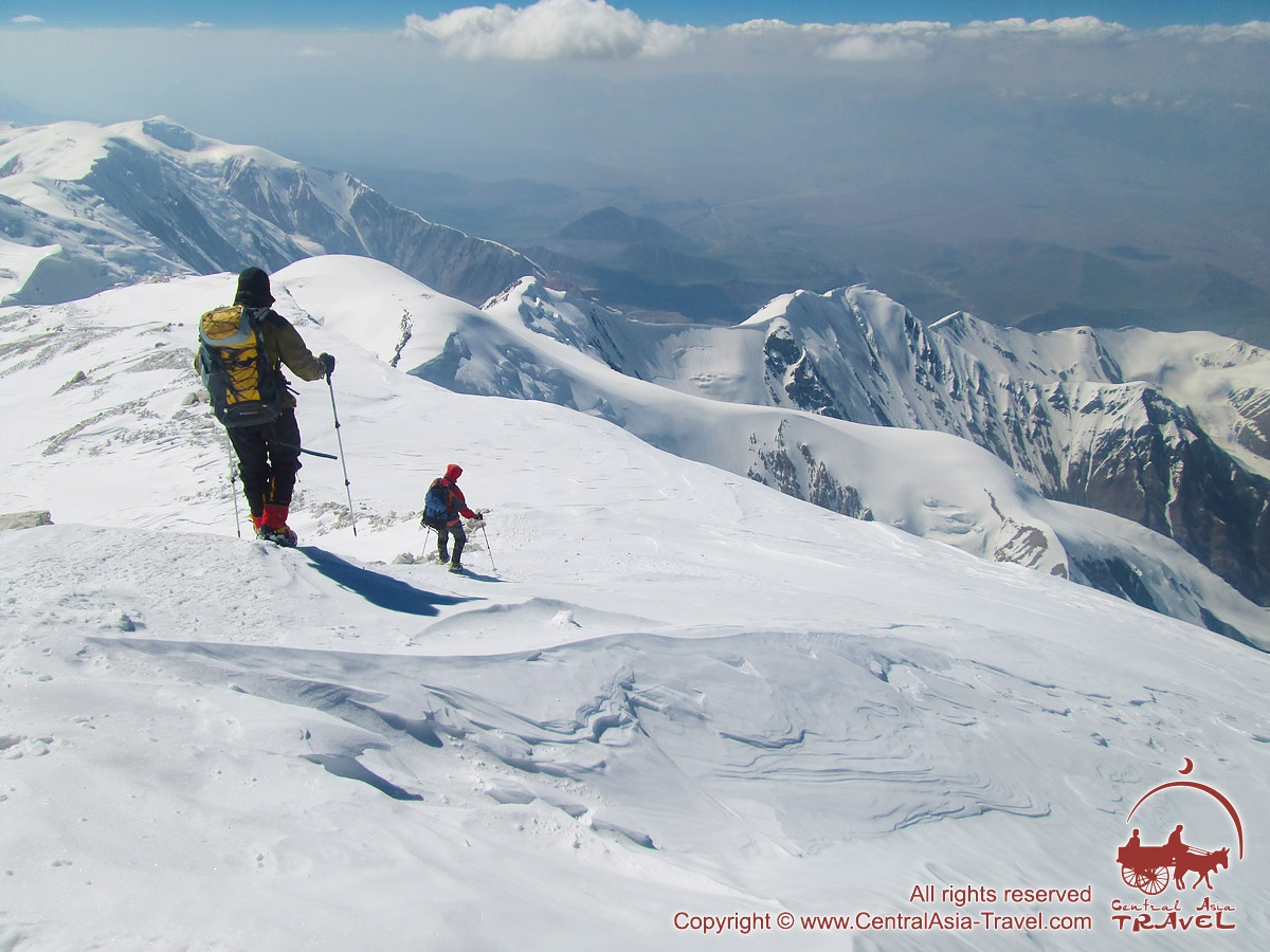 The descent from the summit of Lenin Peak (7134 m). Pamir, Kyrgyzstan