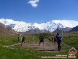 Volleyball ground at the base camp. Lenin peak, Pamir, Kyrgyzstan