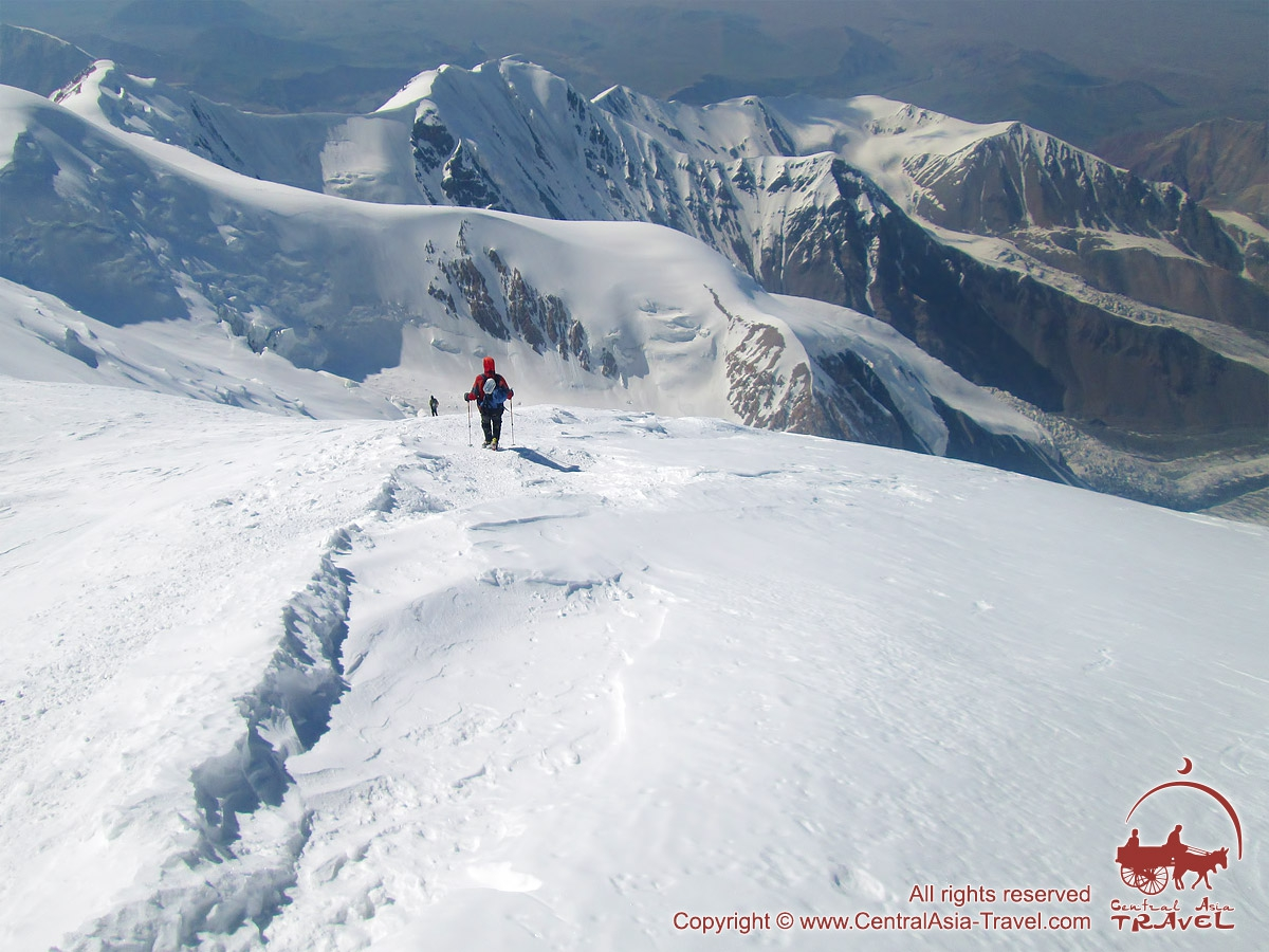 The descent from the height of 6400m. Lenin peak, Pamir, Kyrgyzstan