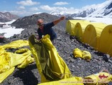 Setting of the Camp 1 (4400m). Lenin peak, Pamir, Kyrgyzstan