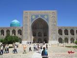Madraza Tilya-Kori (s.XVII). Plaza Reguistán, Samarkanda, Uzbekistán