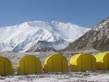 View to Lenin peak from BC of Pamir Expeditions