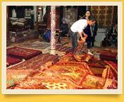 Alfombras y suzané. Tejidos de alfombras en Uzbekistán
