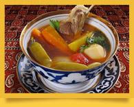 Shurpa. Sopa consistente de Uzbekistán. La receta de preparación