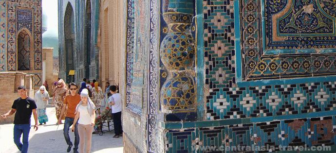 Architekturensemble Schah-I-Sinda. Samarkand, Usbekistan. Reise nach Usbekistan