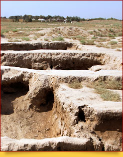 Site of ancient settlement Dalverzintepe. Termez, Uzbekistan