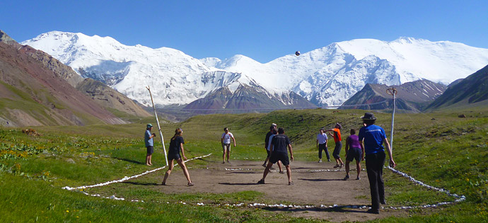 Volleyball Court. Base Camp. Lenin peak