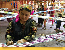 Hand-made silk manufacturing. Ferghana Valley