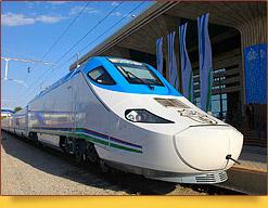 Высокоскоростной поезд Афросиаб. Узбекистан