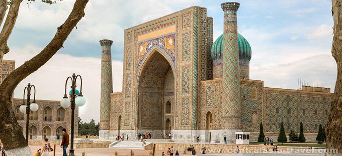 Sher-Dor Madrasah, Registan Square. Samarkand, tour to Uzbekistan