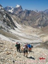 The ascent to the Uryam pass (3760 m). Pamir-Alay area, Kyrgyzstan
