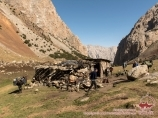 Kosh - the summer house of the shepherd. Pamir-Alay area, Kyrgyzstan