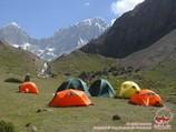 Camp 2 (3000 m) at the Sabah peak. Pamir-Alay area, Kyrgyzstan