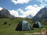 The camp 4 (2860 m) is at the confluence of the Aksu and Karasu rivers. Pamir-Alay area, Kyrgyzstan