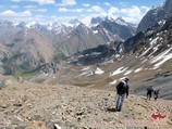 The descent from the Udobniy pass (4140m). Pamir-Alay area, Kyrgyzstan