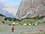 Camp (3000 m) at the Udobnii Pass. Pamir-Alay area, Kyrgyzstan