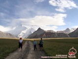 Walk around the base camp. Lenin peak, Pamir, Kyrgyzstan