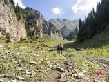 The descent from the pass Makmal. Tien Shan, Kyrgyzstan