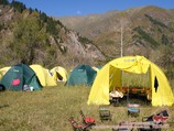 Camp on the lake Sary-Chelek. Tien Shan, Kyrgyzstan