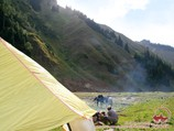 The camp at the confluence of the Kyzyl-Suu and Korumdu rivers. Tien Shan, Kyrgyzstan