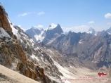 Вид с перевала Ак-Тюбек (4383 м) на ущелье Аксу. Баткенский район, Кыргызстан