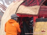 Setting yurt at the Camp 1 (4400 m). Lenin peak, Pamir, Kyrgyzstan