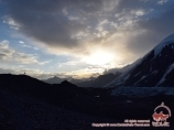 Dawn in the Camp 1 (4400m). Lenin peak, Pamir, Kyrgyzstan