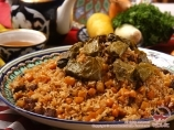 Uzbek pilaf. Dishes of uzbek cuisine