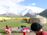 Base Camp (3600m) of Central Asia Travel company. Lenin Peak, Pamir, Kyrgyzstan