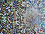 Ornament islimi on the walls of Ulughbek madrasah. Registan Square, Samarkand, Uzbekistan