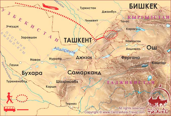 Карта маршрута «Чимганское Кольцо»